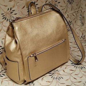 Handbags - Gold Backpack